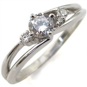 婚約指輪 ダイヤモンドリング 一粒 シンプル 18金 エンゲージリング|plejour
