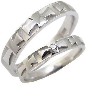 ペアリング クロス K18ゴールド 天然ダイヤモンド クロス マリッジリング|plejour