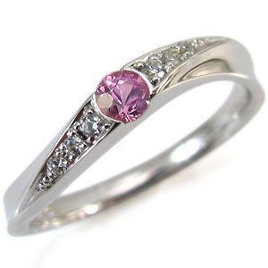 指輪 レディース 9月誕生石 K18 ピンクサファイア リング