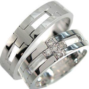 ペアリング K18 ダイヤモンド リング クロスリング 結婚指輪 plejour