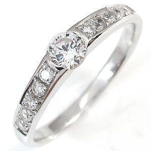 鑑定書付き ダイヤモンド リング 婚約指輪 エンゲージリング 指輪 0.3ct SIクラス 一粒 18金|plejour