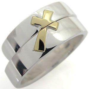 ペアリング コンビ クロス リング K18 指輪 マリッジリング 結婚指輪 クロスリング|plejour