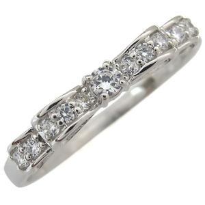 プラチナ ダイヤモンド 婚約指輪 リボン エンゲージリング ファランジリング|plejour