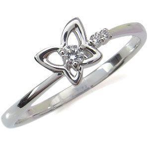 ファランジリング 選べる誕生石 ピンキーリング 10金 指輪 蝶  リング 重ね付け|plejour