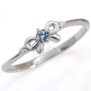 ファランジリング リボンリング アクアマリンサンタマリア 誕生石 ピンキーリング 指輪|plejour
