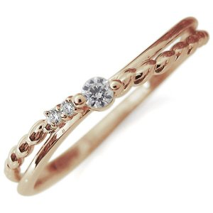 ファランジリング ダイヤモンド シンプル リング 指輪 10金 ピンキーリング|plejour