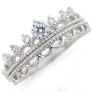 婚約指輪 プラチナ ティアラリング ダイヤモンド エンゲージリング|plejour
