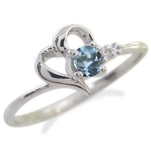 アクアマリンサンタマリア リング K18 ハート シンプル 指輪|plejour