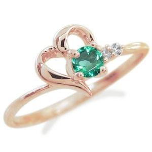 ハートリング 指輪 誕生石 ピンキーリング 10金|plejour