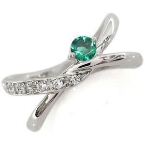 エメラルド リング V字 K18 リング 婚約指輪 安い エンゲージリング