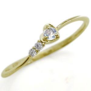 ハートリング ピンキーリング 誕生石 指輪 18金|plejour