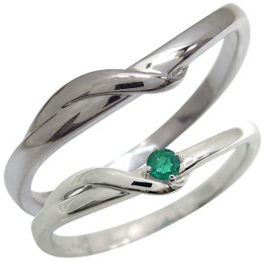 結婚指輪 プラチナ ペアリング 2本セット シンプル エメラルド マリッジリング 母の日 ポイント消...