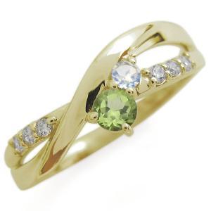 K18 ペリドット リング シンプル エレガント 指輪|plejour