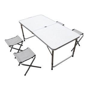 アウトドア レジャー テーブル&チェア4脚セット(折り畳み・...