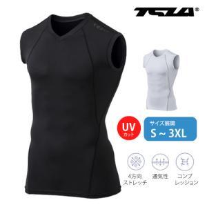 テスラ ノースリーブ アンダーシャツ UVカット・吸汗速乾 高機能コンプレッション クールギア  TESLA  R15 -GRKZ / MUA05-CHC|plum-net
