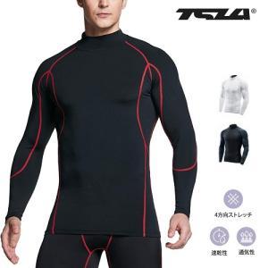 テスラTESLA 長袖ハイネック スポーツシャツUVカット・吸汗速乾 コンプレッションウェア パワーストレッチ アンダーウェア T11-BKRZ/MUT12-KKR|plum-net