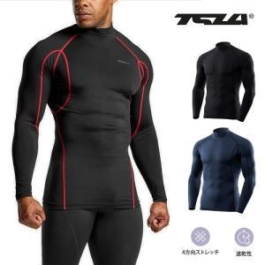 テスラTESLA 長袖ハイネック スポーツシャツUVカット・吸汗速乾 コンプレッションウェア パワーストレッチ アンダーウェア T11-BLSZ/MUT12-BLU plum-net