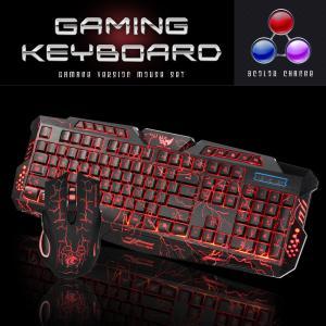 ゲーミングキーボード マウス セット ゲーマー ゲーム 3色LEDバックライト付き 点滅 eスポーツ...