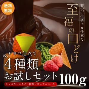 お試し 生チョコ 仕立て 4種類セット 100g ショコラ いちご 宇治抹茶 ワッフルコーン ポスト...