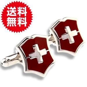 カフスボタン カフリンクス 盾 クロス シールド レッド(赤) メンズジュエリー・アクセサリー カフ...