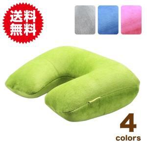収納ポーチ付 ネック ピロー 旅行 用 空気 枕 トラベル エアー 柔らかな肌触り 洗えるカバー