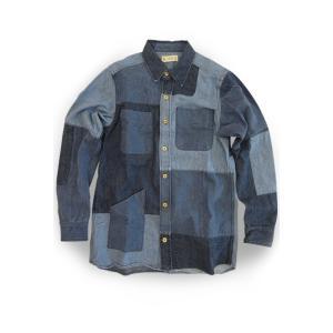 EATS Used Patchwork Shirts_DENIM パッチワークシャツ デニム|plus-c