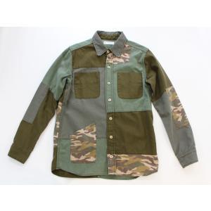 EATS Used Patchwork Shirts_DENIM パッチワークシャツ (オリーブ×カモ)|plus-c