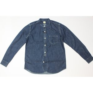 バーンズ barns outfitters ノーカラー デニムシャツ|plus-c