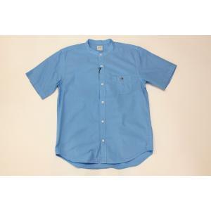 バーンズ barns outfitters ブロード 半袖バンドカラーシャツ|plus-c
