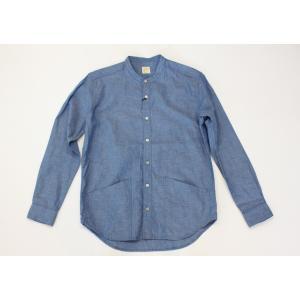 バーンズ barns outfitters ダンガリー バンドカラーシャツ|plus-c