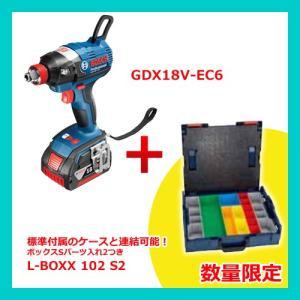 (数量限定特価)(おすすめ)(エルボックス1個付)ボッシュ BOSCH GDX18V-EC6 J 18V 6.0Ah バッテリーインパクトドライバー|plus1tools