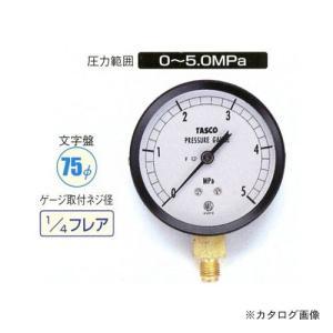 タスコ TASCO 75φフレアタイプ圧力計(5.0mpa) TA141GF-250 plus1tools
