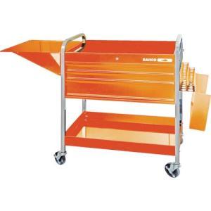 運賃見積り 直送品 バーコ ロールカート3段引き出し+2トレイ オレンジ 1470KC5 plus1tools