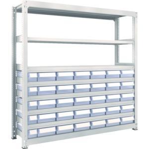 運賃見積り 直送品 TRUSCO M3型中量棚 H1800 樹脂透明引出付 小X5大X30 M3-6658-C5D30|plus1tools