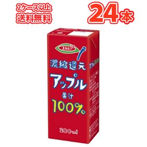 エルビー アップル果汁100% 200ml紙パック 24本入〔LB えるびー ミリパック 濃縮還元 ...