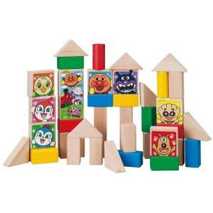 アンパンマンの人気キャラクターがプリントされた積み木のセットです。 40ピース入り。筒型のパッケージ...
