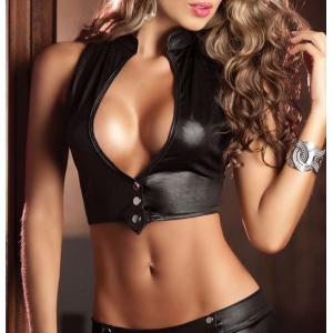 コスチューム セクシーコスプレ レディース ショートパンツ 上下セット 袖なし ノースリーブ レザー風 赤黒 ボンデージ ボンテージ 女王様 ポールダ plusnao