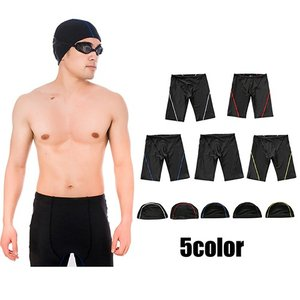 帽子付き水着 海パン スイムウェア メンズ 水着 ハーフパンツ キャップ付き イエロー レッド ホワイト ブラック ブルー plusnao