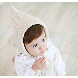 赤ちゃん用のとんがりニット帽です  【サイズについて】 34-45cm 対象年齢3〜8ヶ月