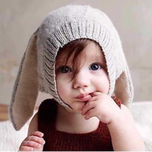 帽子 ニット帽 ベビー用 赤ちゃん 無地 裏起毛 ボア 可愛い あったか 防寒 うさぎの耳 秋 冬|plusnao