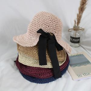 子供用麦わら帽子 麦藁帽子 ストローハット つば広帽 ツバ広ハット バックリボン キッズ 折り畳み可能 折りたたみ 日よけ 熱中症予防 紫外線対策 U|plusnao