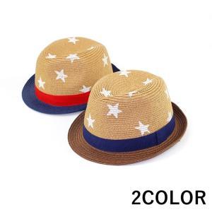 麦わら帽子 カンカン帽 ストローハット 中折れハット キッズ帽子 こども帽子 子供用 星柄 スター柄 春夏 男の子 女の子 男児 女児 幼児 小学生|plusnao