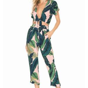 セットアップ 上下セット 半袖 レディースファッション 女性 服 オシャレ 南国風 葉 緑 柄 夏 セパレート|plusnao