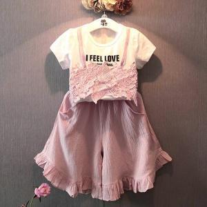 c9ab23180175e セットアップ Tシャツ ガウチョパンツ ワイドパンツ ガウチョ 半袖 レースキャミ風 重ね着風 プルオーバー ラウンドネック ウエストゴム 子供 子ど