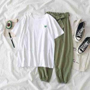 セットアップ レディース Tシャツ 半袖 トップス クルーネック ロングパンツ ボトムス ウエストリボン カジュアル ゆったり|plusnao