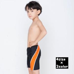水着 スイムウエア キッズ ジュニア 男の子 ハーフパンツ 5分丈パンツ ボトムス 斜めライン 英語 英字 おしゃれ シンプル かっこいい フィットネ|plusnao