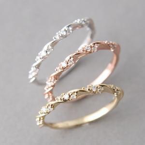 指輪 リング ラインストーン キラキラ レディース アクセサリー 華奢 シンプル おしゃれ きれいめ 上品 可愛い かわいい ゴールドカラー シルバー plusnao