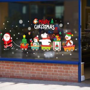 ウォールステッカー クリスマス スノーフレーク サンタさん サンタクロース MerryChristmas X mas トロッコ 列車 白くま ツリー
