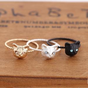 指輪 リング レディース アクセサリー 猫 ねこ 立体的 細いリング 黒 ブラック 銀 シルバー 金...