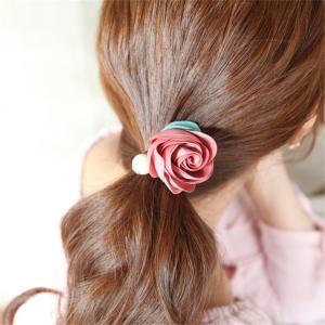 ヘアゴム 2個セット ヘアアクセサリー レディース まとめ髪 花 フラワー バラ フェイクパール 赤 ピンク お出掛け プレゼント 誕生日 おしゃれ|plusnao